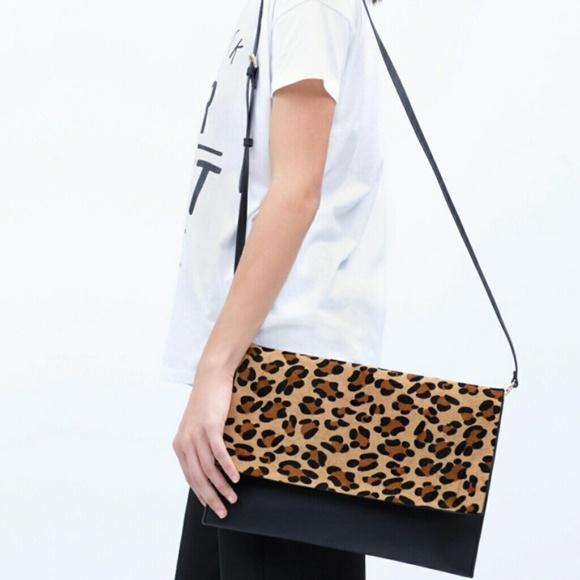 Zara Animal Print Clutch Crossbody Leopard 4495 d562dbd80cc4